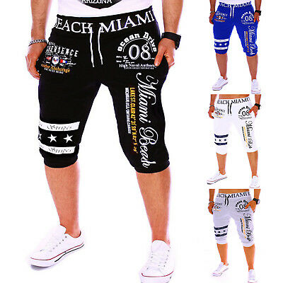 Mens Sweatpants Cropped Pants Elastic Shorts Casual Jogging Sports Gym Trousers