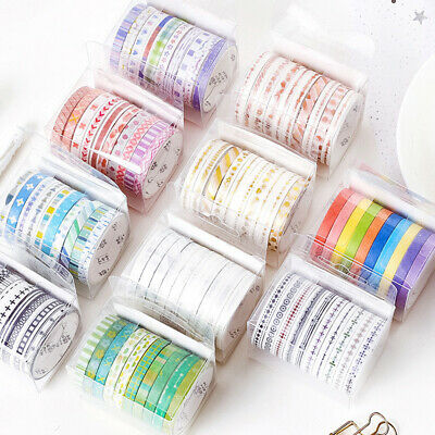 10 Rolls Tape Set Scrapbooking School Supplies Basic Slim Masking Tape  ^S