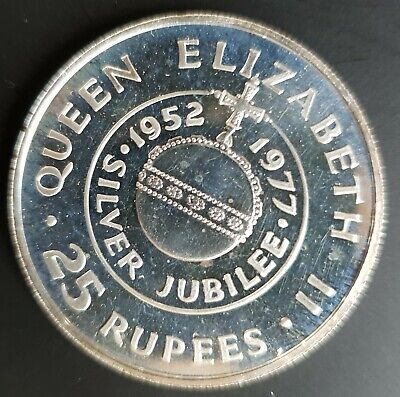 1977 Seychelles 25 Rupees Queen's Silver Jubilee Coin Prooflike Uncirculated..