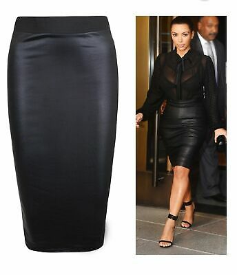Women Ladies Plus Size Wet Look Faux Leather Pencil Stretch Midi Skirt 8 to 26 U