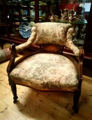 Rare Antique Fireside Chair With Original Aubusson Tapestry & Inlay