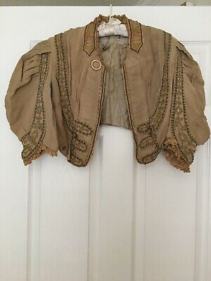 Antique Edwardian Victorian Small jacket coat with embroidery