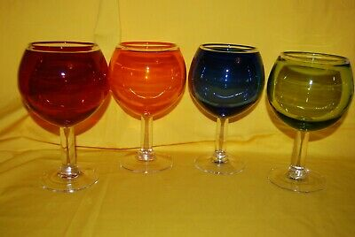 Multi Color Art Blown Glass Wine Drinkware Goblet Balloon SET 4 Cocktail Barware
