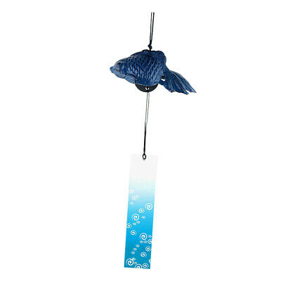Cast Iron Wind Bell Chimes Home Garden Yard Hanging Ornaments Fish_Blue