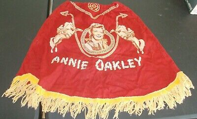 Vintage RARE girls cowgirl Annie Oakley skirt 1940-50's red yellow fringed SKIRT