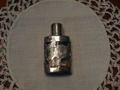 Vintage Sterling Silver Overlay TAXCO Mexico 925 PERFUME SCENT BOTTLE FLASK