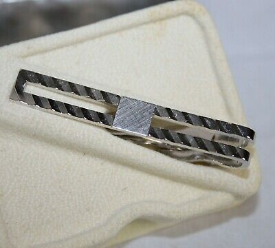 bcbb6c8f4e57 Vintage Swank Tie Bar Clip Clasp Ribbed Stripes Signed Marked Silver Tone  in Box