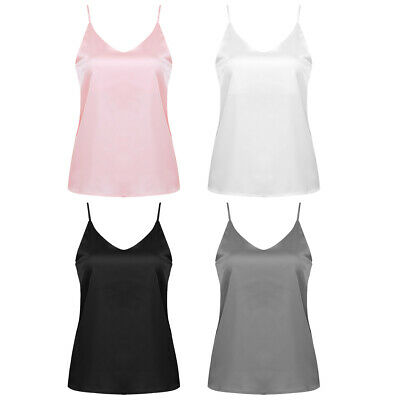 Summer Casual Satin Strap Vest Tops Tank Camisole T-Shirt Blouse Women Basic Top