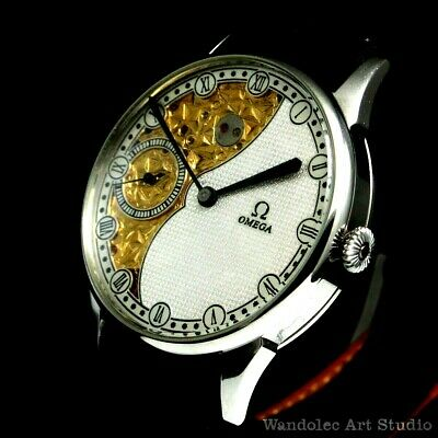 Vintage Mens Wrist Watch OMEGA Noble Design Swiss Men's Wristwatch Half Skeleton