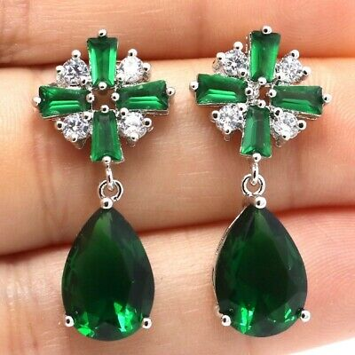 Vintage Antique Pear Green Emerald Earring Women Jewelry 14K White Gold Plated