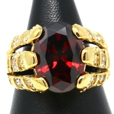 Hand Carved 4 Ct Solitaire Red Ruby Ring Women Wedding Engagement Jewelry Gift
