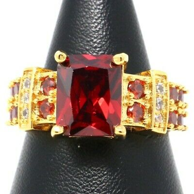 4 Ct Red Cushion Ruby Ring Women Wedding Birthday Holiday Jewelry Nickel Free