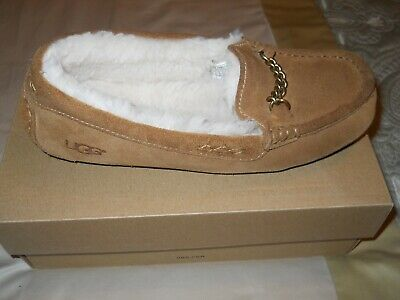 d48980fc755 UGG ANSLEY CHARM Suede Moccasin Slippers, Women's Size 7, Blue ...