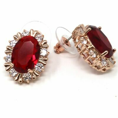 Antique Hand Carved Oval Red Ruby Earrings Nickel Free Jewelry Gift Rose Gold