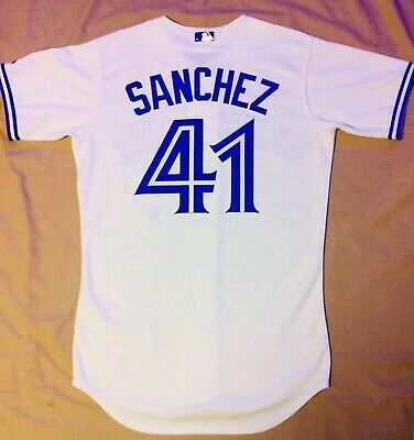 6db1ab032 Majestic Authentic Aaron Sanchez Toronto Blue Jays On Field Home Jersey  Size 40