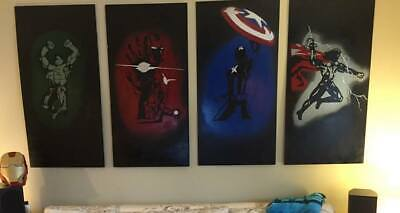 Avengers Wall Art Modern Art Wood Super Hero Iron Man Thor Captain America Hulk