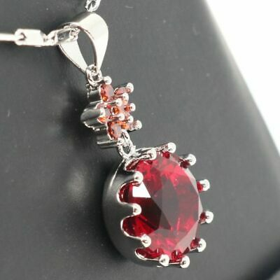 Large 4Ct Round Red Ruby Pendant Necklace Women Wedding Jewelry 14K White Gold
