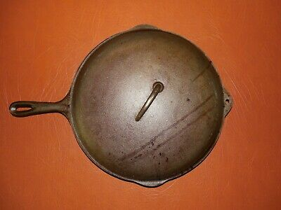 Vintage Antique Number 12 Cast Iron Skillet With Heat Ring And Lid 13 7/16 In.