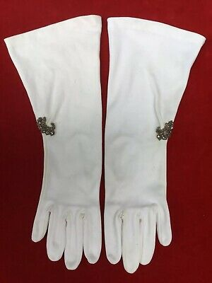 Off White Vintage Long Stretch ELVETTE Opera Gloves With Rhinestones Size 7 USA