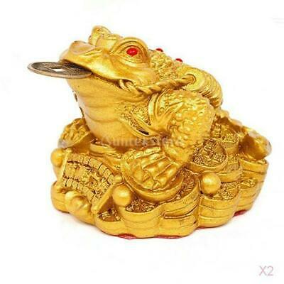 2x Gold Feng Shui Soldi Fortuna Cinese Orientale I Ching Frog Toad Coin Home