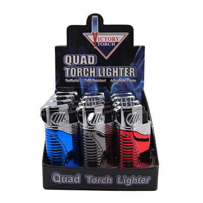 4 Quad Shinny Jet Torch Lighter Butane Refillable Windproof Flame Cigar Puncher