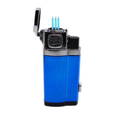 Triple Shinny Jet Torch Lighter Butane Refillable Windproof Flame Cigar Puncher