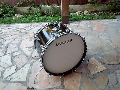 "LUDWIG 22"" x 14"" BASS DRUM BLACK CORTEX VINTAGE 1976"