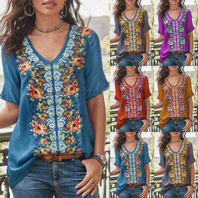 UK Womens Summer Floral V Neck Blouse Loose Baggy Tops Tunic T Shirts Plus Size