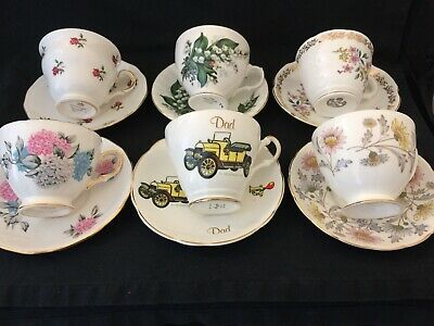 FAB COLLECTION OF MISMATCHED ENGLISH VINTAGE CHINA - 6x TEA CUPS and SAUCERS.