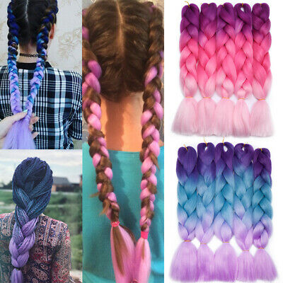 """24"""" Ombre Pink Blue Kanekalon Jumbo Braid Synthetic Hair Extensions MULTI Colors"""