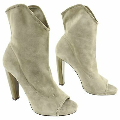 b69d55d9470a9 Jimmy Choo Open Toe Maja Suede Ankle Boots with Marbled Heels - 40