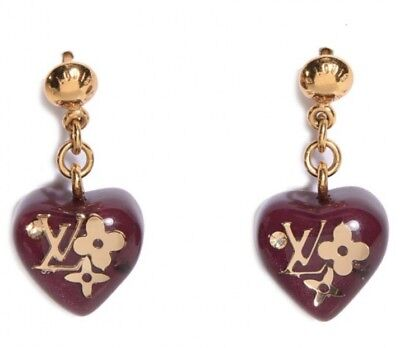 3ec4f5a6dd237 Rare Authentic Louis Vuitton Heart Inclusion Earrings Gold Lucite Charm Logo