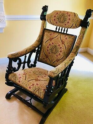 Antique Victorian Vintage Mahogany Hunzinger Rocker Carved Lion Heads