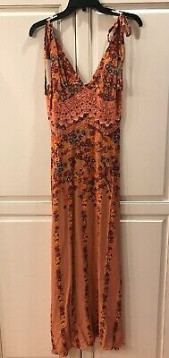 26d4e18854bd1 NWT Free People Claire Floral Printed Maxi Slip Dress XS Rare Color!! NWT