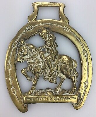Vintage Horse BRIDLE CHARM Medallion SOLID BRASS Decoration Saddle LADY GODIVA