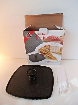 "Cast Iron Square Heavy Ribbed Panini Sandwich Press 8-1/2"" Kitchen Chef Cook"