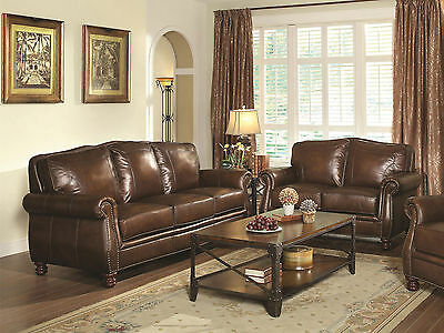 PEARCE TRADITIONAL FORMAL Living Room Furniture Brown ...