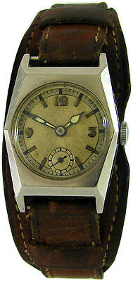 Unsigned Hand Wound Men's Watch Leather Underlying Strap Brown Antique