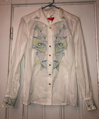 ESCADA Women's White Embroidered Long SLEEVE Blouse Gold Buttons Size 36 NWT