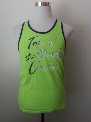 American Eagle Outfitters Men Size S Classic Fit Graphic Tank Top of Dude Chain