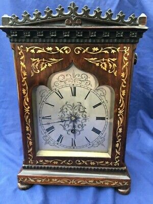 Antique Rosewood Inlaid Bracket Clock Late Regency 8 Day