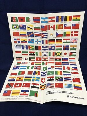 Vintage National Bank Flag Of The World. Circa.1970's. Mint condition.