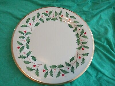 1~Gorgeous Lenox Dimension ~Holiday Holly Gold Rimmed 10.75 Dinner Plate