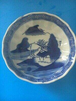 Antique Japanese Porcelain Bowl Blue and White  in Landscape 19th century