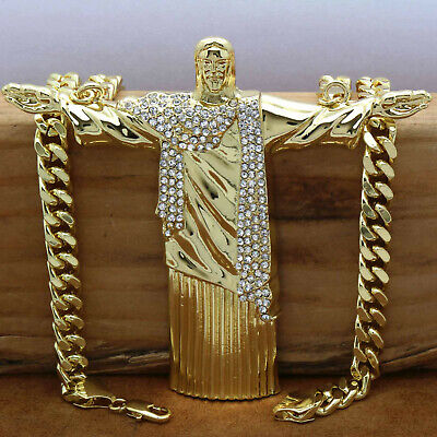 "Hip Hop 14k Gold Plated  Huge  "" JESUS""  Pendant with 30"" inch Cuban Chain (H)"