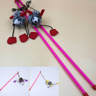 Kitten Cat Toy Mouse On A Rod Teaser Feather Play Pet Dangler Wand NEW
