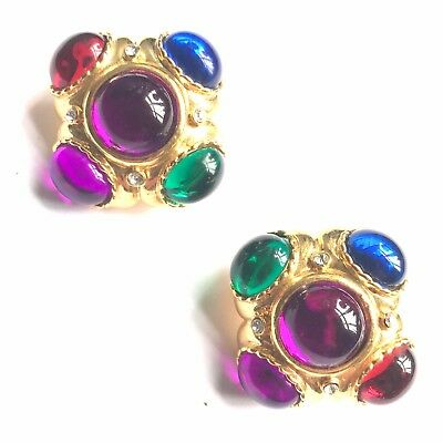 Huge Gripoix Cabochon Crystal Couturegold Earrings