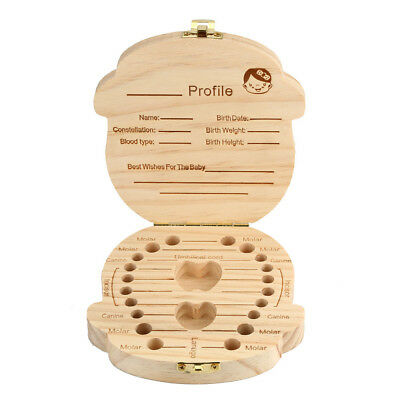 -Tooth Box Organizer For Baby Milk Teeth Save Wood Storage Box For Kids Children
