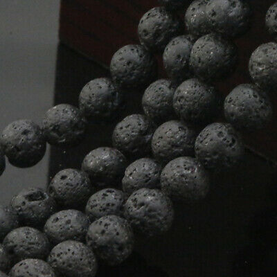 """Lava For Natural Black Jewelry Beads Rock Making Round Stone Stone Volcanic 15"""""""