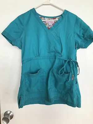 c18f4c3d117 Koi Womens Scrub Top Size M Solid Turquoise V-Neck Tie Waist Style 137  Katelyn